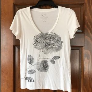 Forever 21 white flowered, bejeweled tee.